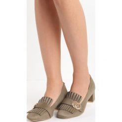 Khaki Czółenka Nigella. Brązowe buty ślubne damskie Born2be, z aplikacjami, ze skóry, na niskim obcasie, na słupku. Za 69,99 zł.