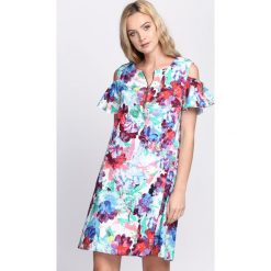 Sukienki: Biało-Fioletowa Sukienka Displosion