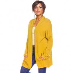 """Kardigan """"Rico"""" w kolorze żółtym. Żółte kardigany damskie marki So Cachemire, s, z kaszmiru. W wyprzedaży za 173,95 zł."""