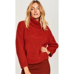Sweter z domieszką wełny - Bordowy. Czerwone swetry klasyczne damskie Reserved, l, z wełny. Za 139,99 zł.