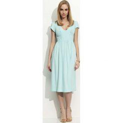 Sukienki: Miętowa Sukienka Midi z Marszczeniami