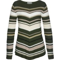 Swetry damskie: Sweter asymetryczny bonprix nocny oliwkowy – kolorowy