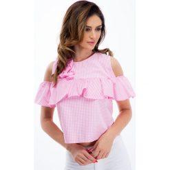 Różowa bluzka z falbaną 21356. Czerwone bluzki z odkrytymi ramionami Fasardi, m. Za 39,00 zł.