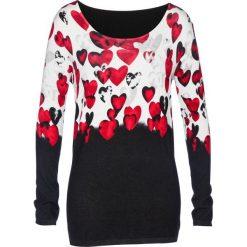 Swetry klasyczne damskie: Sweter bonprix czarno-czerwony z nadrukiem