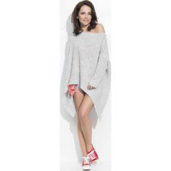 Odzież damska: Jasno Szary Sweter Oversizowy z Wydłużonymi Bokami