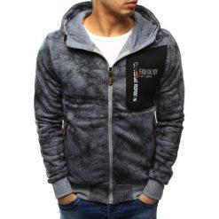 Bluzy męskie: Bluza męska rozpinana szara z kapturem (bx3441)