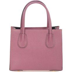 Torebki klasyczne damskie: Skórzana torebka w kolorze brudnego różu – 30 x 23 x 11 cm
