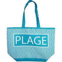 """Shopper bag damskie: Torba plażowa """"Texty"""" w kolorze turkusowym - 35 x 58 x 23 cm"""