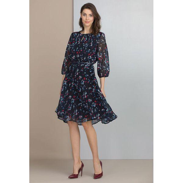 6ffc1004be Wiosenna sukienka w kwiaty - Szare sukienki damskie Monnari