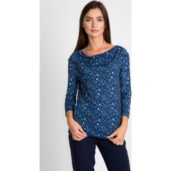 Bluzki damskie: Granatowa bluzka ze wzorem QUIOSQUE