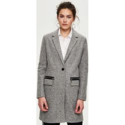 Płaszcze damskie pastelowe: Jednorzędowy płaszcz z zamkami - Jasny szar