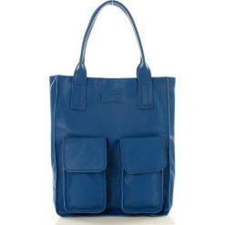 Shopper bag damskie: Torebka shopper z kieszeniami niebieska MELODY