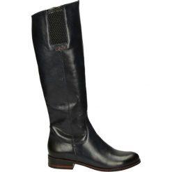 Kozaki ocieplane - Z874-1 PEL BL. Czarne buty zimowe damskie marki Kazar, ze skóry, na wysokim obcasie. Za 249,00 zł.