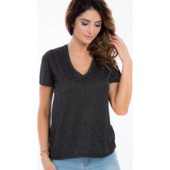 Czarny t-shirt z błyszczącą nitką 21311. Czarne t-shirty damskie Fasardi, s. Za 19,00 zł.
