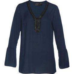 Tunika z ozdobną tasiemką bonprix ciemnoniebieski. Niebieskie tuniki damskie z długim rękawem bonprix, z materiału, z dekoltem w serek. Za 89,99 zł.