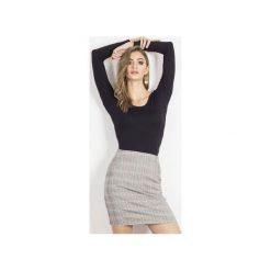Spódnica Bianca. Szare minispódniczki Wow fashion, w kratkę, z tkaniny, z podwyższonym stanem. Za 169,00 zł.