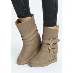 Khaki Śniegowce Usage. Brązowe buty zimowe damskie Born2be, z materiału. Za 99,99 zł.