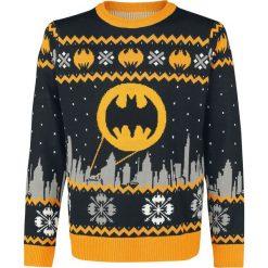 Batman Gotham Sweter czarny/szary/żółty. Czarne swetry klasyczne męskie marki Batman, xl, z motywem z bajki. Za 264,90 zł.