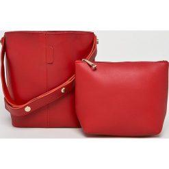 Answear - Torebka. Różowe torebki klasyczne damskie ANSWEAR, w paski, z materiału, średnie. W wyprzedaży za 69,90 zł.