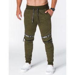 SPODNIE MĘSKIE DRESOWE P637 - KHAKI. Brązowe spodnie dresowe męskie marki Ombre Clothing, z aplikacjami, z bawełny. Za 49,00 zł.