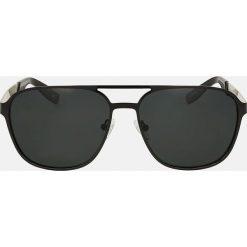 Czarne okulary przeciwsłoneczne. Czarne okulary przeciwsłoneczne męskie wayfarery Kazar, z lakierowanej skóry. Za 349,00 zł.