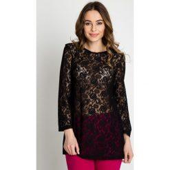Czarna przeźroczysta bluzka z motywem kwiatowym BIALCON. Czarne bluzki longsleeves marki BIALCON, z koronki, wizytowe. W wyprzedaży za 54,00 zł.