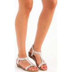Sandały damskie: Srebrne sandały z gumką RENDA szare