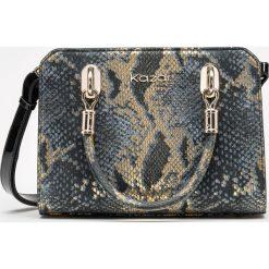 Złoto czarna torebka damska. Czarne torebki klasyczne damskie marki Kazar, w paski, z nubiku, duże, z tłoczeniem. Za 799,00 zł.