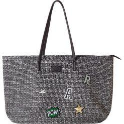 "Shopper bag damskie: Shopper bag ""Patches"" w kolorze czarno-białym – 55 x 32 x 18 cm"