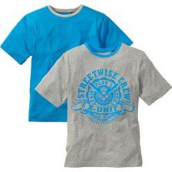 Koszulka ( 2szt.) bonprix jasnoszary melanż - turkusowy. Czarne t-shirty chłopięce z nadrukiem marki bonprix, z dresówki. Za 39,98 zł.