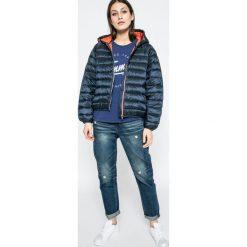 Tommy Jeans - Top. Szare topy sportowe damskie marki Tommy Jeans, m, z nadrukiem, z bawełny, z okrągłym kołnierzem. W wyprzedaży za 99,90 zł.