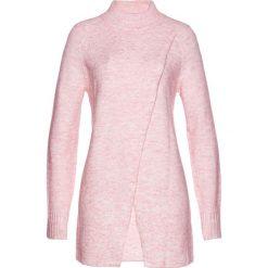 Długi sweter bonprix pastelowy jasnoróżowy melanż. Czerwone golfy damskie bonprix, melanż, z długim rękawem. Za 129,99 zł.