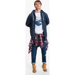 Bluzy męskie: BLUZA MĘSKA ROZPINANA Z KAPTUREM Z APLIKACJĄ
