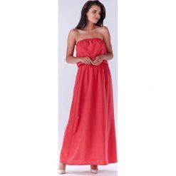 Różowa Maxi Sukienka z Odkrytymi Ramionami. Czerwone długie sukienki marki Molly.pl, l, z jeansu, biznesowe, z dekoltem na plecach, z długim rękawem. Za 129,90 zł.