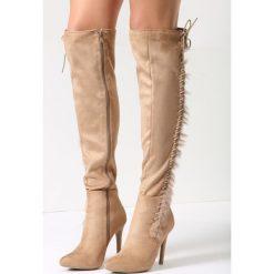 Buty zimowe damskie: Beżowe Kozaki Lou