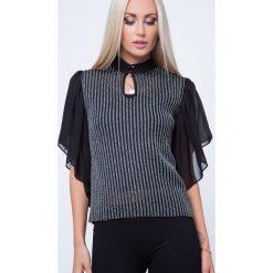 Bluzka ze srebrną nitką czarna MP16136. Czarne bluzki na imprezę Fasardi, l. Za 49,00 zł.
