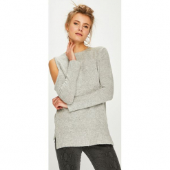 Answear - Sweter. Szare swetry klasyczne damskie ANSWEAR, l, z dzianiny, z okrągłym kołnierzem. Za 129,90 zł.