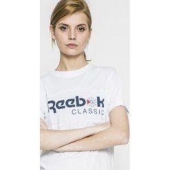 Reebok Classic - Top. Szare topy sportowe damskie marki Reebok Classic, l, z nadrukiem, z bawełny, z okrągłym kołnierzem. W wyprzedaży za 59,90 zł.