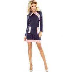 NIKI sukienka z trzema zamkami - GRANAT + różowe zamki. Niebieskie sukienki na komunię numoco, s, z materiału, z golfem. Za 159,99 zł.