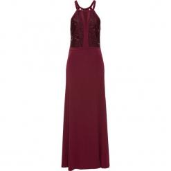 Sukienka wieczorowa z koronką i cekinami bonprix czerwień granatu. Czerwone sukienki balowe bonprix, na imprezę, w koronkowe wzory, z koronki. Za 189,99 zł.