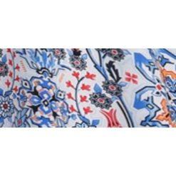 SUKIENKA DAMSKA W MAROKAŃSKI NADRUK OZDOBIONA KORONKĄ. Niebieskie sukienki balowe marki Top Secret, na lato, w koronkowe wzory, z koronki. Za 64,99 zł.