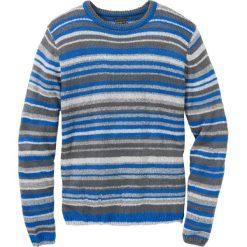 Sweter z dzianiny o splocie dużych oczek  Regular Fit bonprix szaro-niebieski w paski. Szare swetry klasyczne męskie marki bonprix, l, w paski, z dzianiny. Za 109,99 zł.