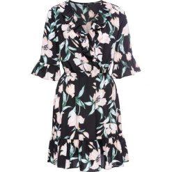 Sukienki: Sukienka z założeniem kopertowym bonprix czarny z nadrukiem