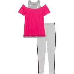 Piżamy damskie: Piżama z legginsami bonprix jasnoszary melanż – różowy