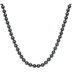 Naszyjniki damskie: Naszyjnik z pereł w kolorze antracytowym – dł. 120 cm