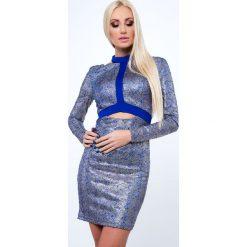 Sukienka wieczorowa błyszcząca chabrowa G5197. Niebieskie sukienki marki Fasardi, l, wizytowe. Za 79,00 zł.
