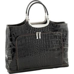 Torebki klasyczne damskie: Skórzana torebka w kolorze ciemnobrązowym – 37 x 37 x 10 cm