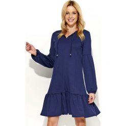 Sukienki: Granatowa Sukienka z Bufiastym Długim Rękawem