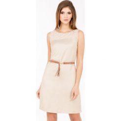 Odzież damska: Lniana sukienka z ażurowym karczkiem