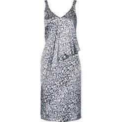 Sukienki: Sukienka satynowa bonprix szaro-srebrny matowy z nadrukiem